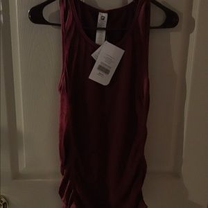 FABLETICS BURGUNDY NWT S ROUCHED TANK TOP